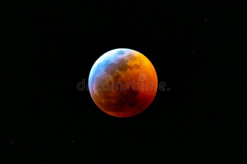 Zaćmienie Księżyca Styczeń 2019 zdjęcie stock