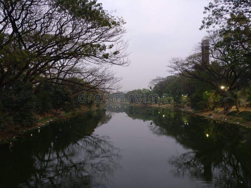 Zaćmienie przy Dhanmondi jeziorem zdjęcia royalty free