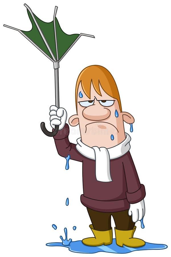 załamany człowiek parasolkę ilustracja wektor