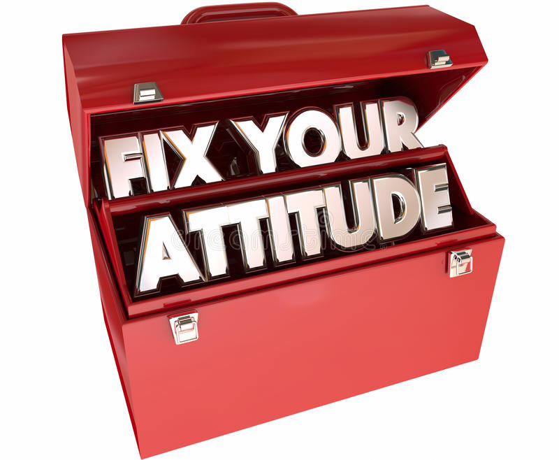 Załatwia Twój postawę Przystosowywa Dobrego Pozytywnego światopoglądu Toolbox royalty ilustracja