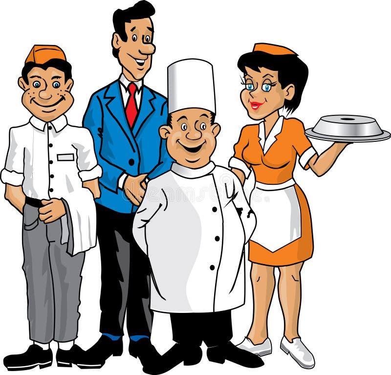 załoga restauracja royalty ilustracja