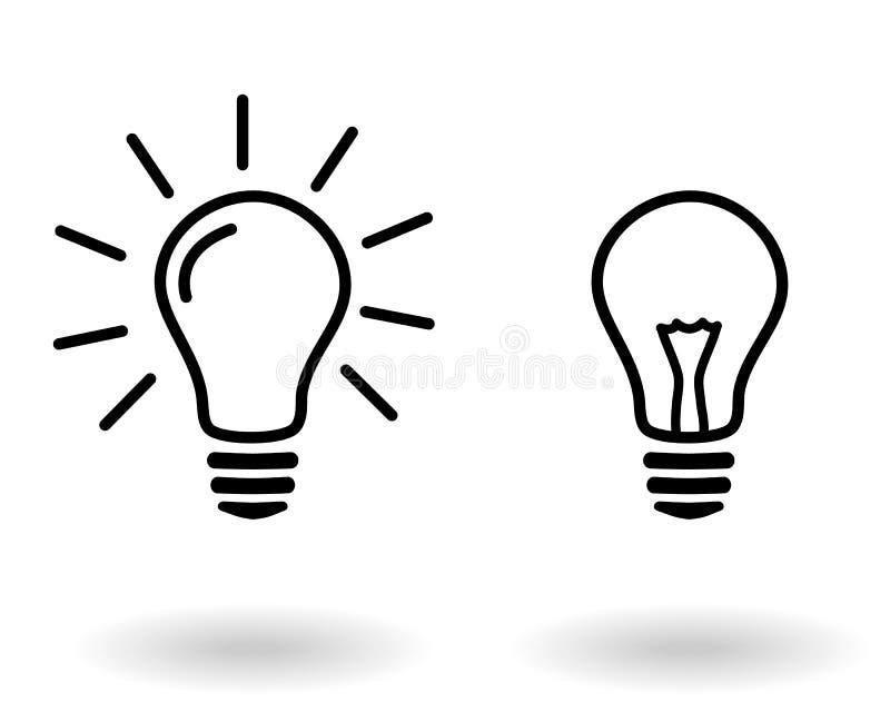 Zaświeca z i zaświeca na lightbulb elektrycznego żarówka prostego czarnego konturu ikony wektorowym secie rozjarzonym i obracając royalty ilustracja