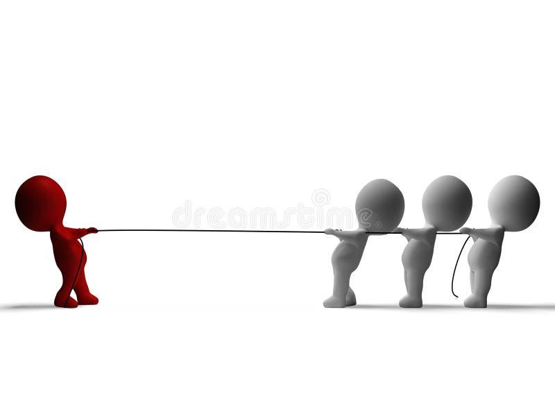 Zażartej Rywalizaci 3d charakterów przedstawienia konflikt I niedola ilustracja wektor