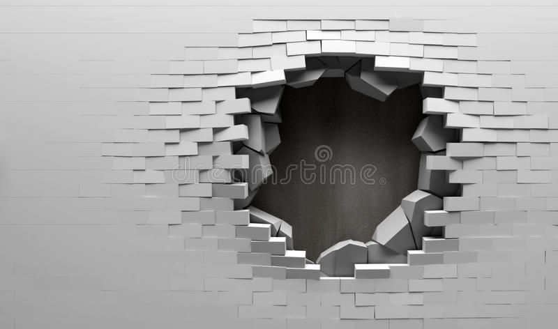 za ceglaną łamającą metalu talerza ścianą ilustracji