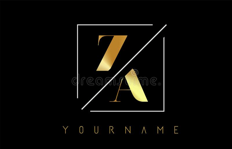 ZA Golden Letter Logo with Cutted and Intersected Design. And Square Frame Vector Illustration royalty free illustration