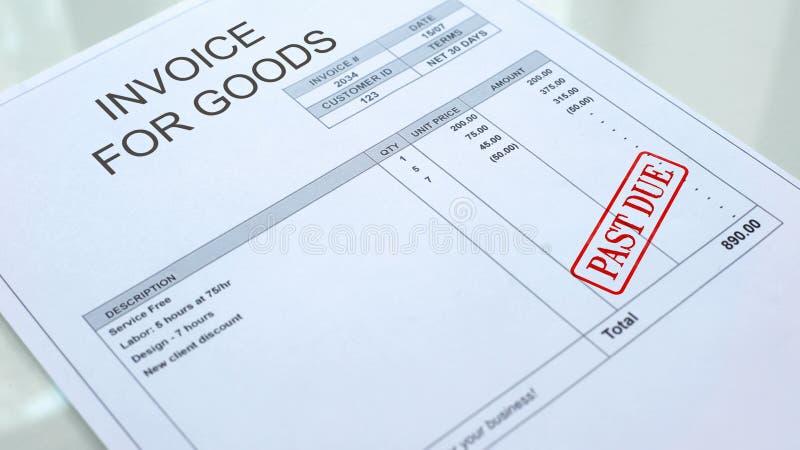 Za - należną foką stemplującą na fakturze dla towarowego handlowego dokumentu, biznes obraz royalty free