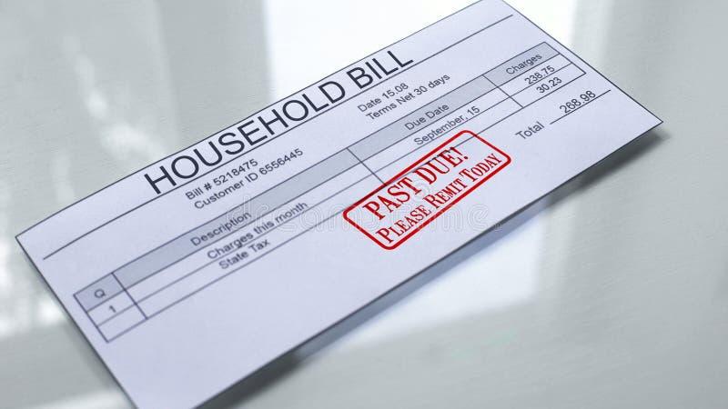 Za - należną foką stemplującą na gospodarstwo domowe rachunku, zapłata dla usług, miesiąca koszt ilustracji