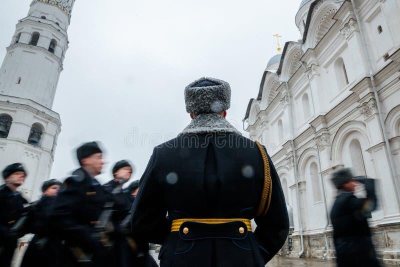 Za paradą Prezydencki pułk usługa Moskwa Kremlin's Commandant fotografia stock