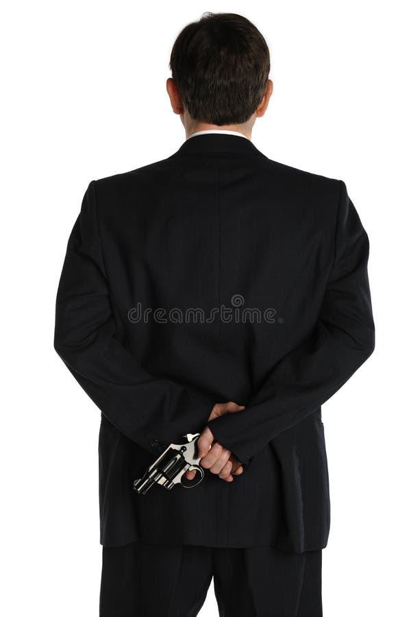 za pistoletowym kostiumem obraz royalty free