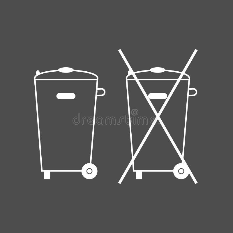 Za pojemniku na śmiecie, znak Żadny kosz na śmieci ikona Zbiornik przetwarza również zwrócić corel ilustracji wektora Biel na pop ilustracja wektor
