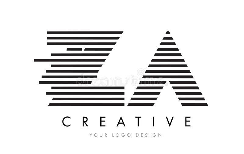 ZA Z A Zebra Letter Logo Design with Black and White Stripes vector illustration
