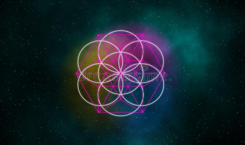 Zaad van het leven en evenwichtstekens op melkwegachtergrond vector illustratie