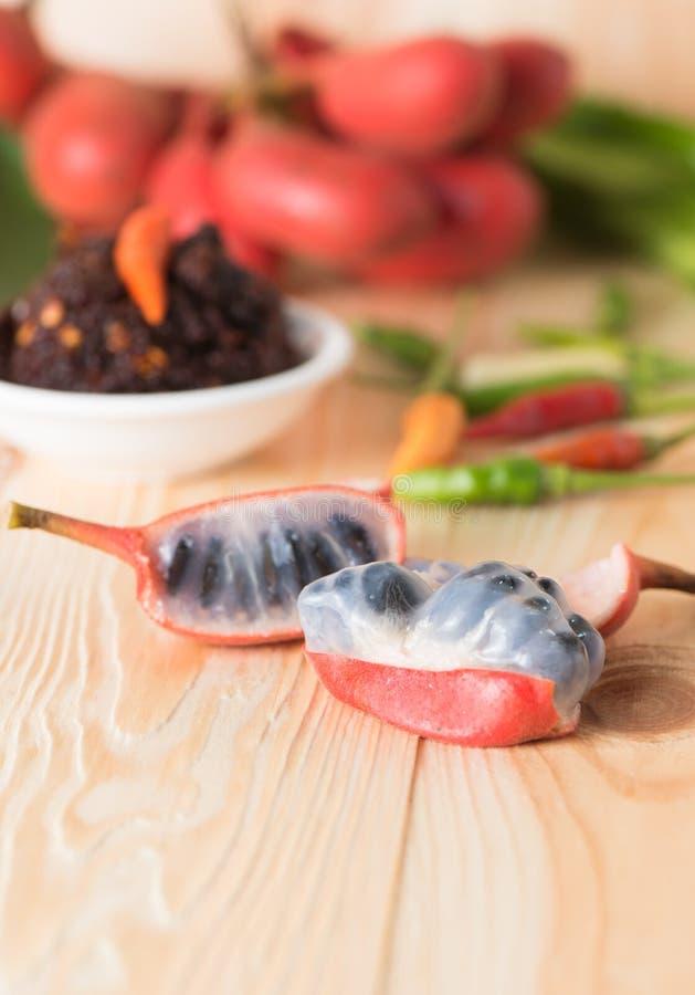 Zaad van Uvaria-het fruit van rufablume, Kruid zeldzame en bedreigde specie royalty-vrije stock afbeelding