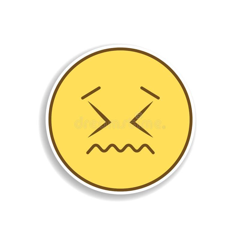 zaaferowana barwiona emoji majcheru ikona Element emoji dla mobilnych pojęcia i sieci apps ilustracyjnych ilustracja wektor