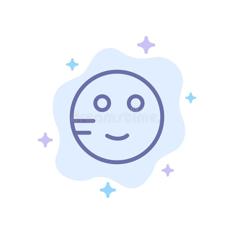 Zaaferowany, Emojis, szkoła, Studiuje Błękitną ikonę na abstrakt chmury tle royalty ilustracja