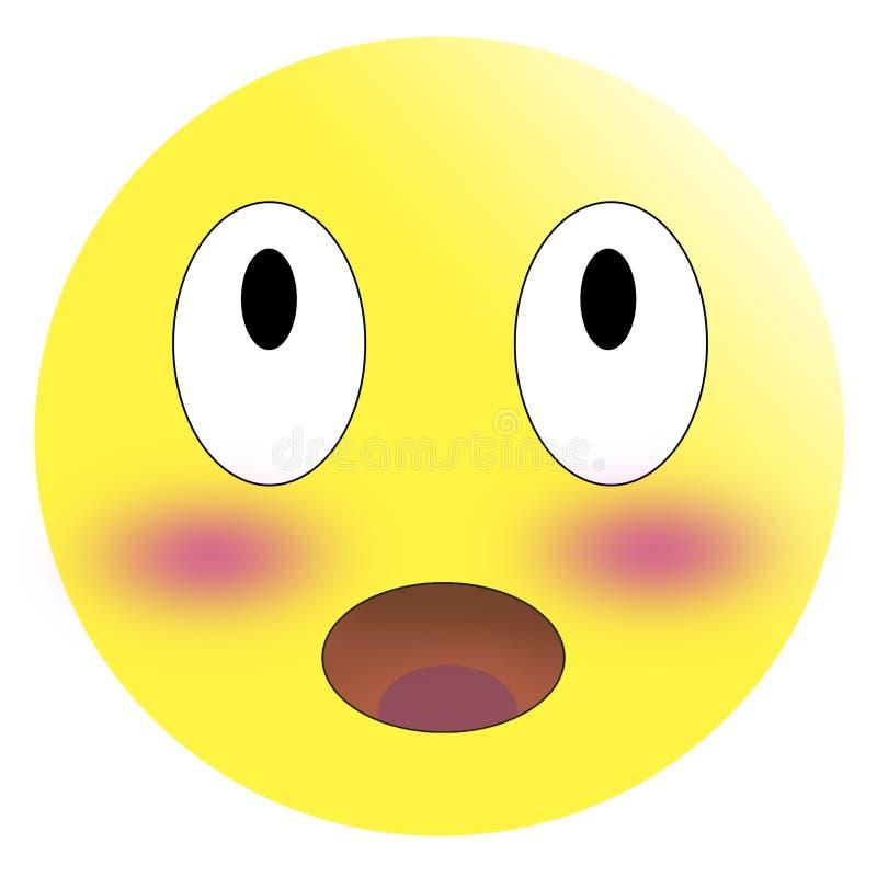 Zaaferowany emoticon z rozognionymi czerwonymi policzkami ilustracji