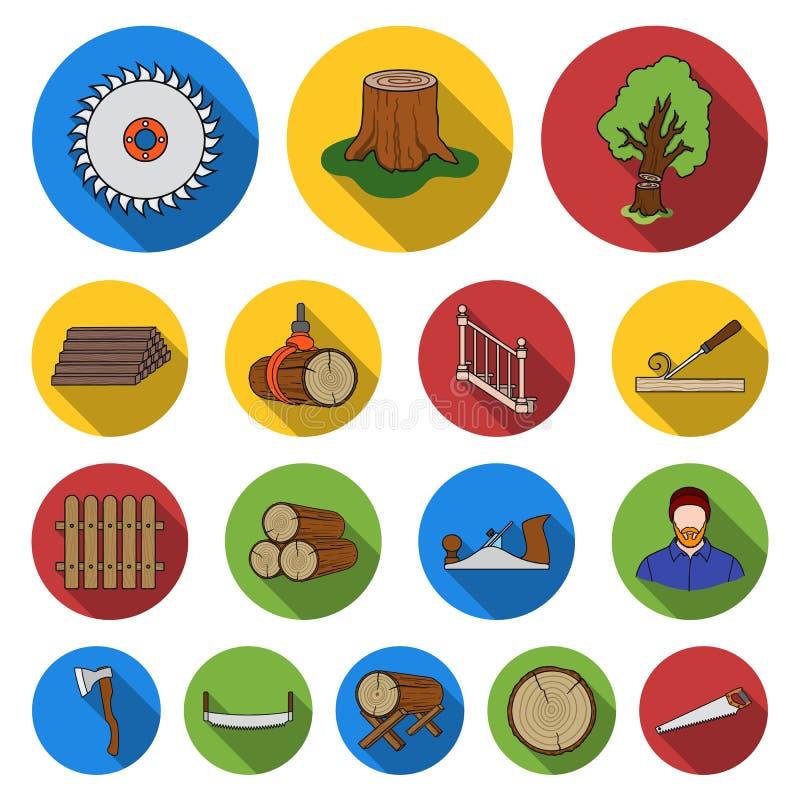 Zaagmolen en Hout vlakke pictogrammen in vastgestelde inzameling voor ontwerp Hardware en van het Hulpmiddelen de vectorsymbool i royalty-vrije illustratie
