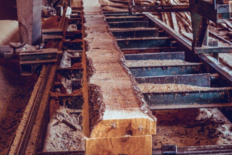 zaagmolen Het proces om machinaal te bewerken opent de zagen van de zaagmolenmachine de het programma boomboomstam stock foto's