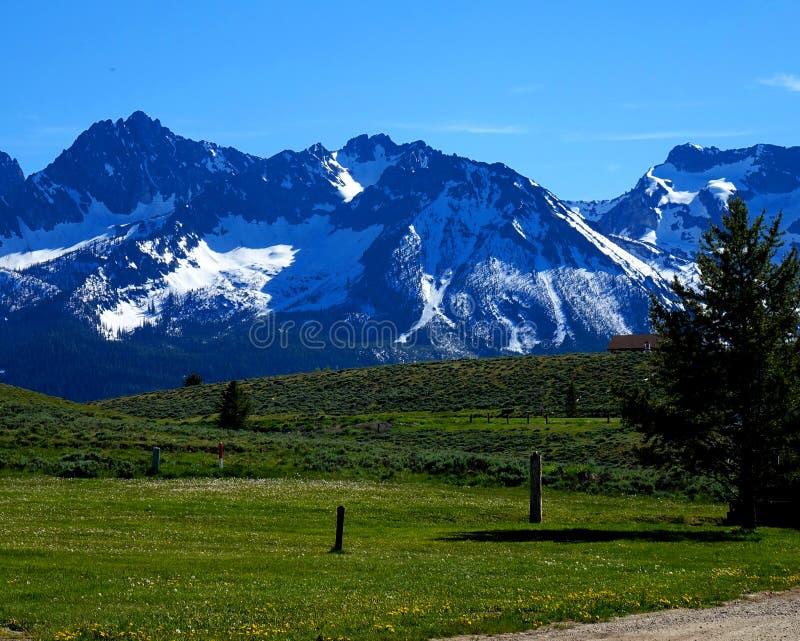 Zaagtandbergen - Stanley, Idaho stock afbeelding
