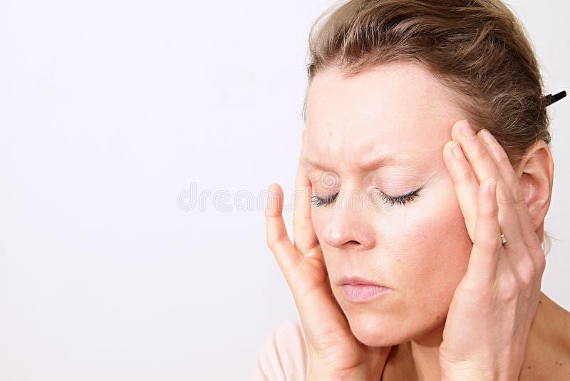 Zaakcentowana kobieta Z migreną fotografia royalty free