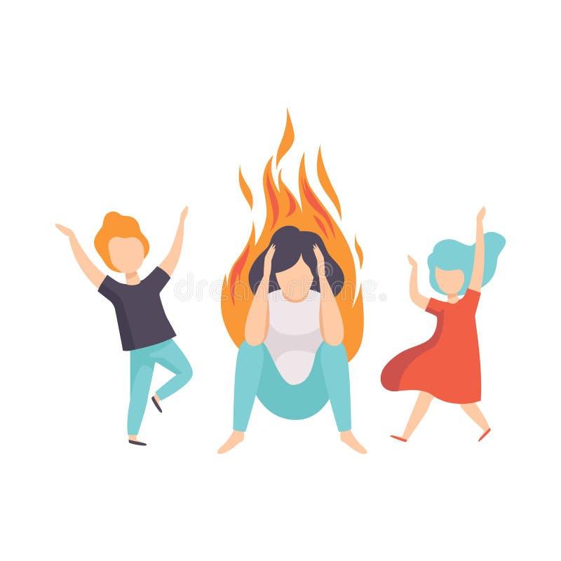 Zaakcentowana zmęczona matka i jej dzieciaki, kobieta na ogieniu, emocjonalny burnout pojęcie, stres, migrena, depresja ilustracji
