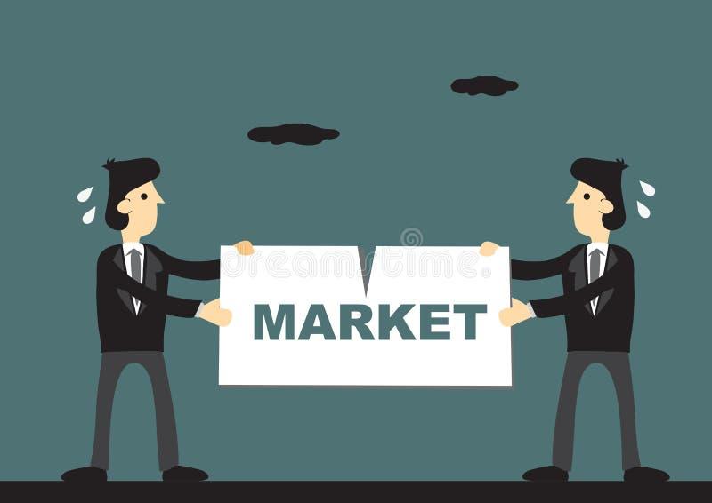 Zaakcentowani biznesmeni Trzyma na znaku Który Mówi udział w rynku Ve ilustracji