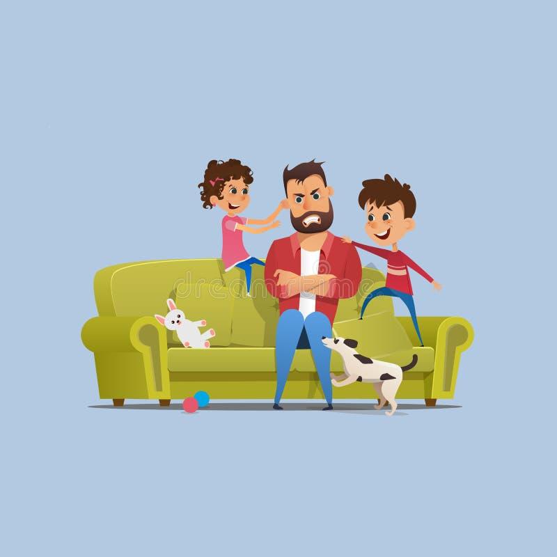 Zaakcentowani Dokuczający ojców Niegrzeczni dzieci na kanapie royalty ilustracja