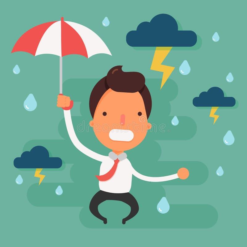 Zaakcentowany biznesmen z czarnej chmury deszczem nad głowa royalty ilustracja