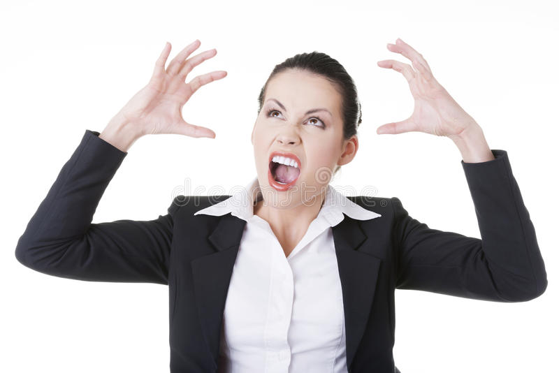 Zaakcentowany lub gniewny bizneswomanu krzyczeć fotografia stock