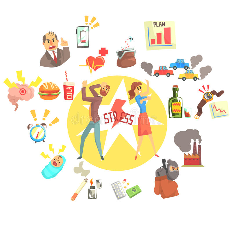 Zaakcentowany mężczyzna I kobieta Otaczający Z Różnym stresem Wskazujemy czynniki External I styl życia Odnosić sie royalty ilustracja