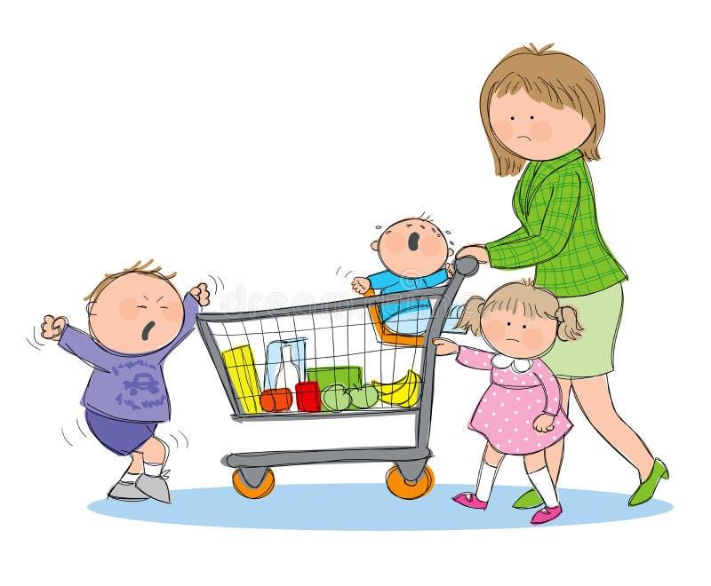 Zaakcentowany mama sklepu spożywczego zakupy ilustracja wektor