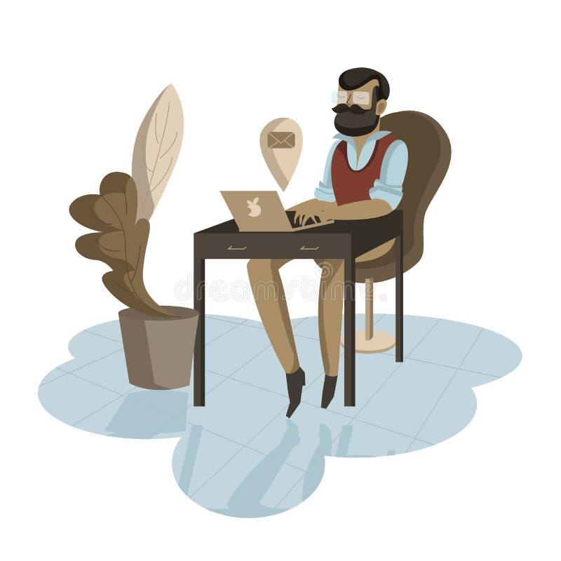 Zaakcentowany urzędnika obsiadanie przy biurkiem przed jego laptopem ilustracja wektor
