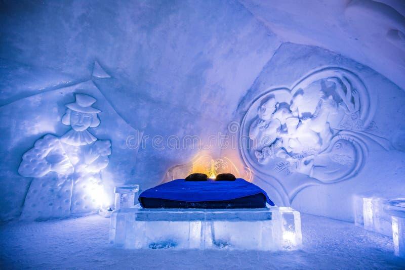 Zaal bij Valcartier-Ijshotel in Quebec stock fotografie