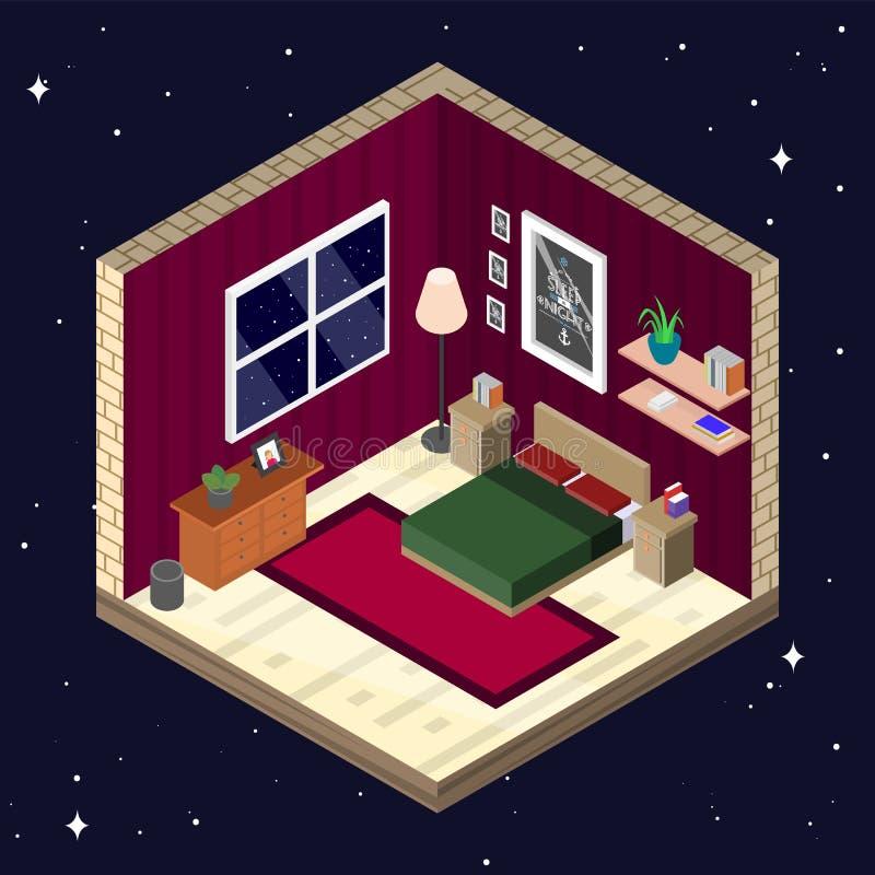 Zaal binnenland in isometrische stijl Slaapkamer met meubilair vectorillustratie vector illustratie