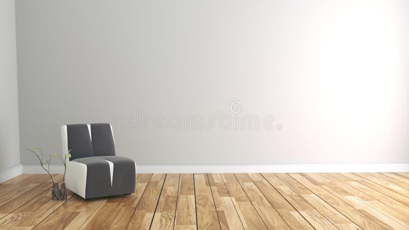 Zaal binnenland met bank en installaties op lege witte muurachtergrond het 3d teruggeven vector illustratie