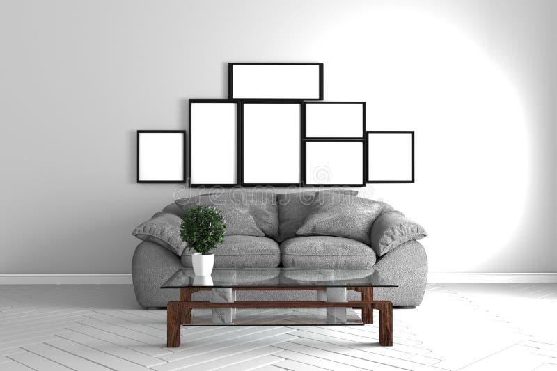 Zaal binnenland met bank, lijst, kader en installaties op witte ruimte het 3d teruggeven vector illustratie
