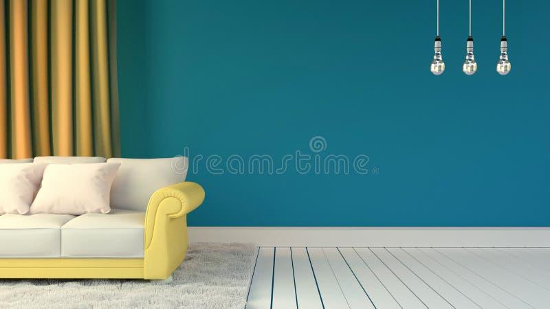 Zaal binnenland met blauwe muur en hoofdkussens op gele bank met wit tapijt en drie lampen het 3d teruggeven stock illustratie