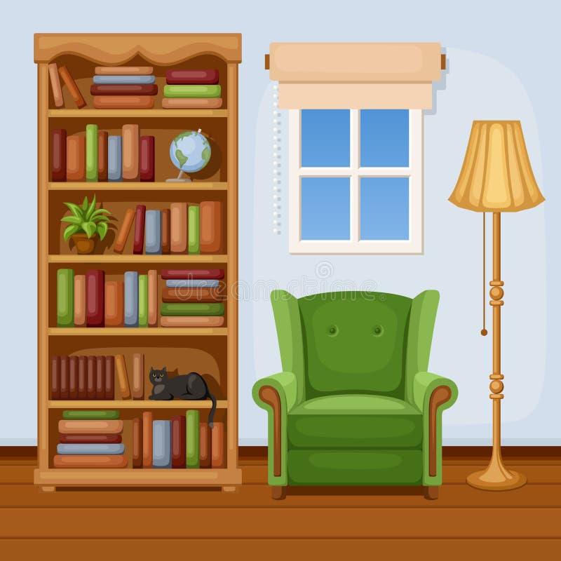 Zaal binnenland met boekenkast en leunstoel Vector illustratie royalty-vrije illustratie