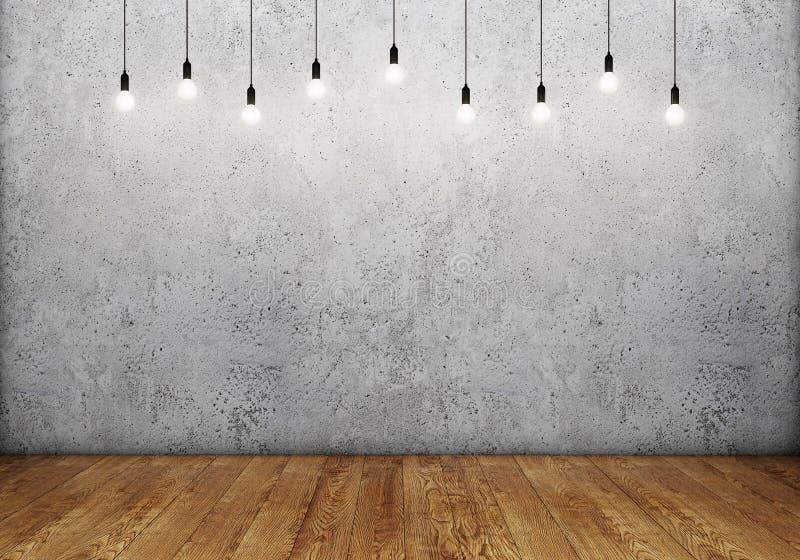 Zaal binnenland met lege concrete muur, retro gloeilampen en houten vloer stock afbeeldingen