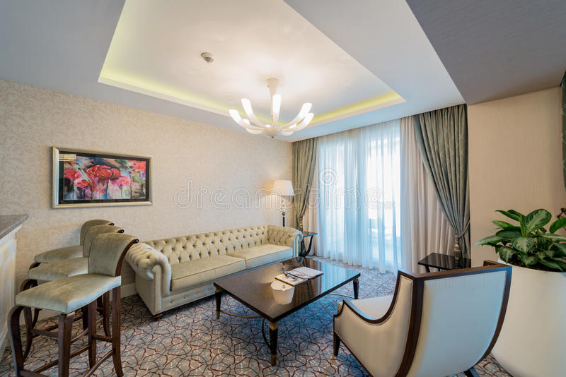 Zaal binnenland met modern meubilair royalty-vrije stock fotografie