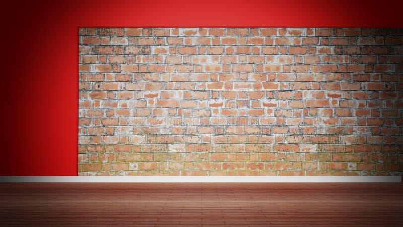 Zaal binnenlandse, lege doorstane bakstenen muur stock illustratie