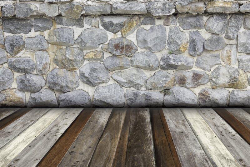 Zaal binnenlandse steenmuur en houten vloerachtergrond stock fotografie