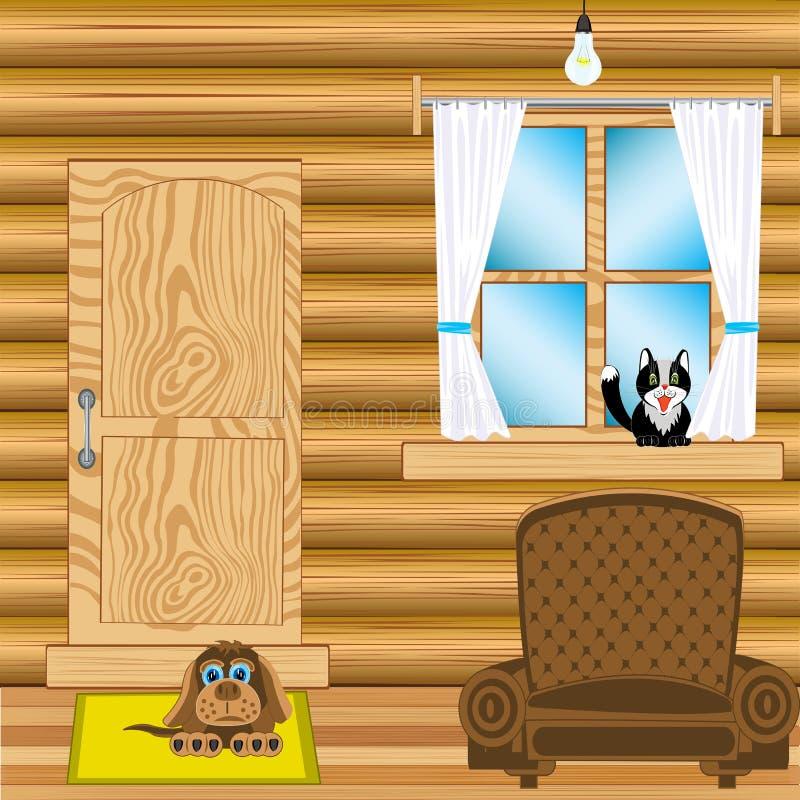Zaal in blokhuis royalty-vrije illustratie