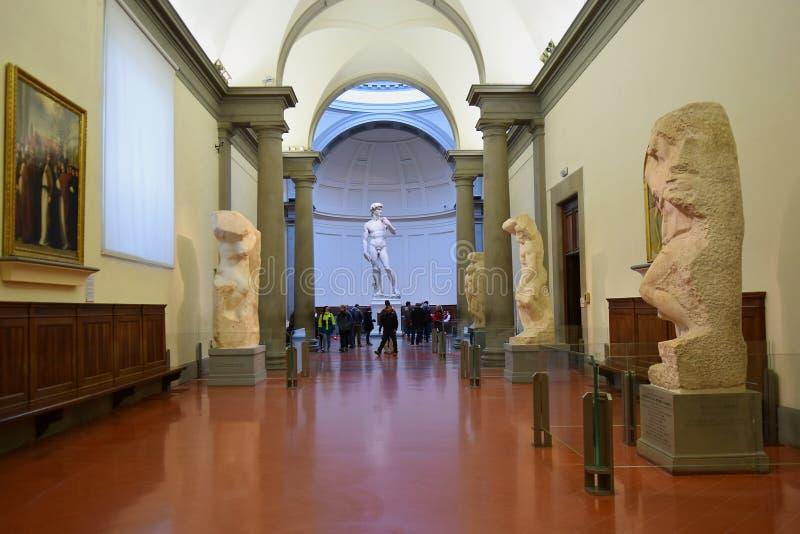 Zaal door Michelangelo in Galleria-dell Accademia Florence, Italië stock foto