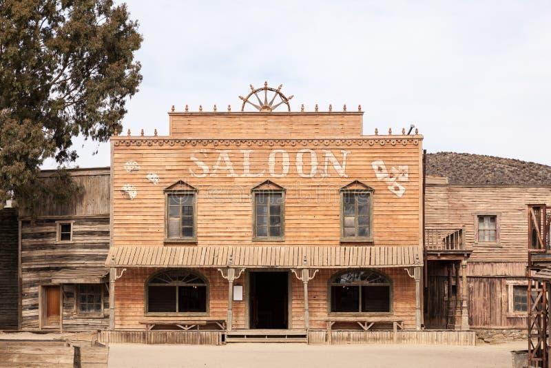 Zaal in een oude Amerikaanse westelijke stad royalty-vrije stock foto's