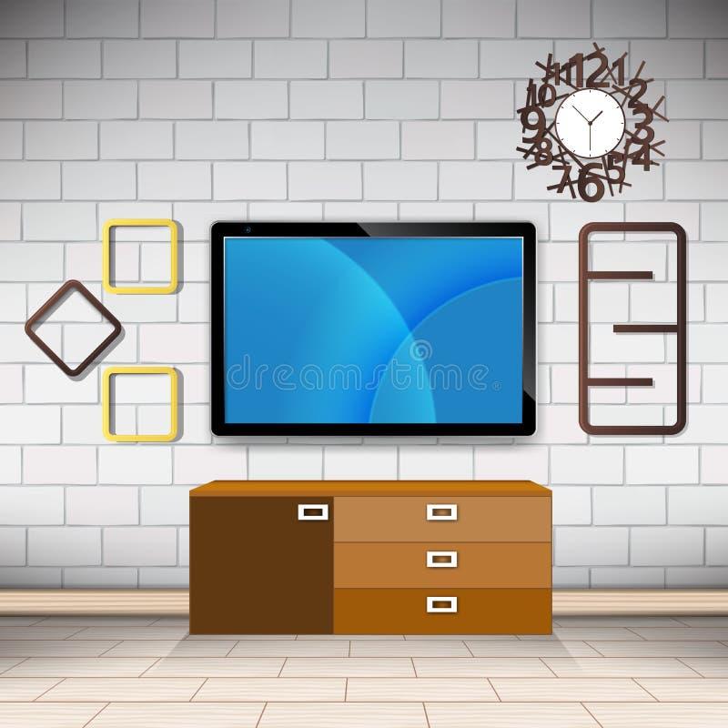 Zaal en decoratie op de van de muurstijl moderne vector als achtergrond royalty-vrije stock afbeeldingen