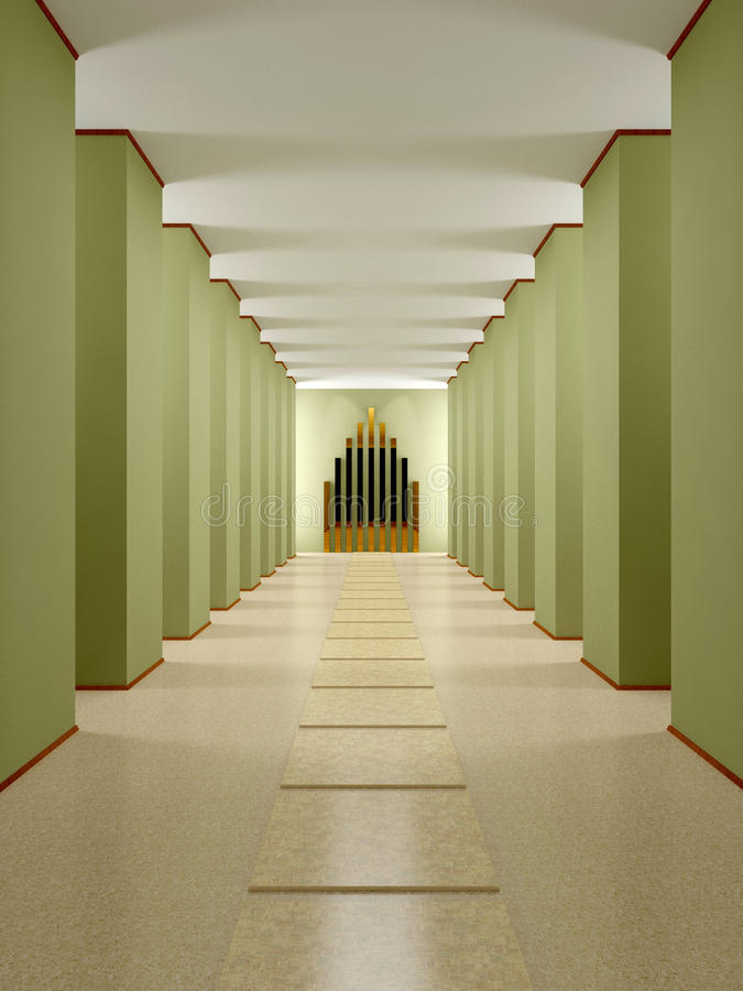 Zaal, gang met kolommen en podium. vector illustratie