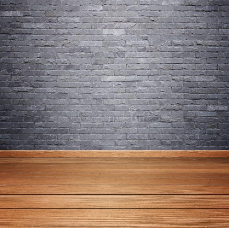 Zaal het binnenland met baksteensteen betegelt muur en houten vloerbackgro stock foto