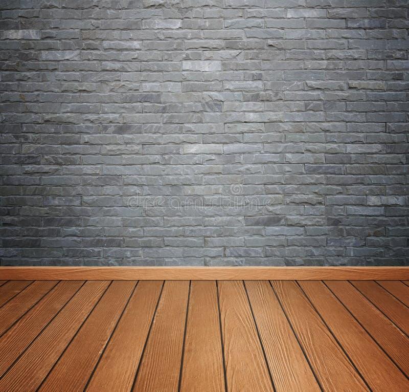 Zaal het binnenland met baksteensteen betegelt muur en houten vloerbackgro stock afbeelding