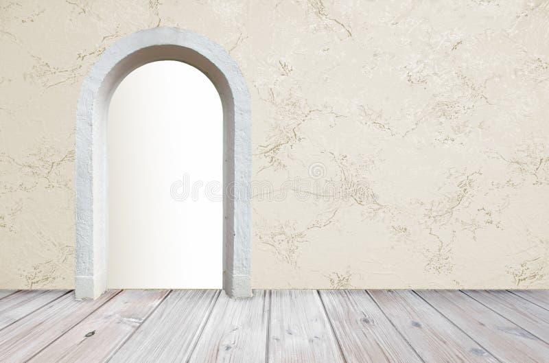 Zaal het ontwerp met rustieke houten vloer en marmerbehang, opent vector illustratie